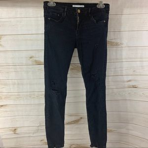Zara Trafaluc Black Distressed Skinny Jeans